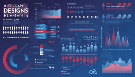 Infographics elements. Modern infographic vector template with statistics graphs and finance charts. Diagram template and chart graph, graphic information visualization illustration Çizim