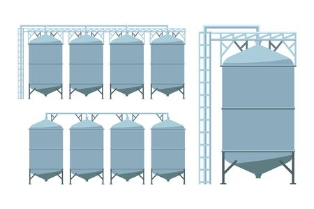 Agriculture grain silos. Agro manufacturing plant for processing drying cleaning and storage of agricultural products, flour, cereals and grain. Vector illustration.