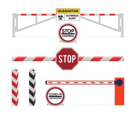 Sign of quarantine. Closed the barrier. The prevention of the epidemic quarantine. Coronavirus disease. COVID-2019 alert sign. Vector illustration. Vectores