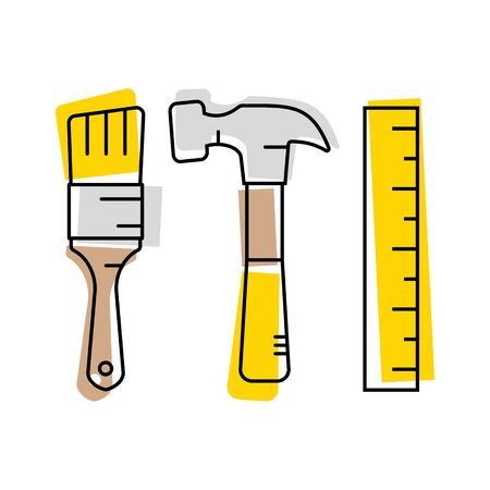 Tools set. Thin line art icons. Flat style illustrations isolated on white. Brush, hammer, tape measure. Vector illustration. Иллюстрация