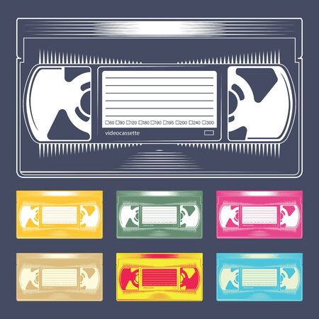 Videocassette. Retro VHS videotape from 90s. Old record video recorder tape. Vintage style movie storage icon. Vector illustration.