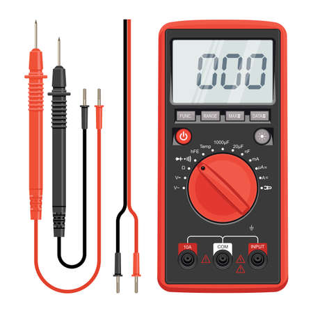 Multimeter electrical or electronics in red silicone shell, with probes. Electrician power tools. Multimeter and socket. Vector illustration. Isolated on white background.