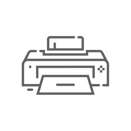 Printer icon. Outline illustration of printer vector icon for web. Web symbol for websites and mobile app. Trendy design. Vector illustration. 矢量图像