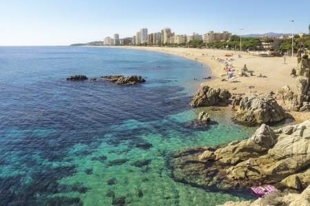 Beach in Spain in autumn  Costa Brava, Playa dе Aro                      Stock Photo