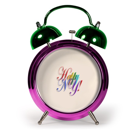 up service: Colorful Up Service reports that come New Year  Christmas tree decorations alarm clock Stock Photo
