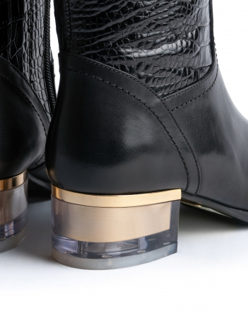 Pair of stylish women leather boots