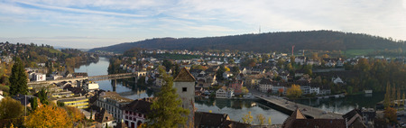 Panoramic photo of the city of Schaffhausen (Switzerland), bird