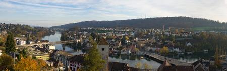Panoramic photo of the city of Schaffhausen (Switzerland), bird