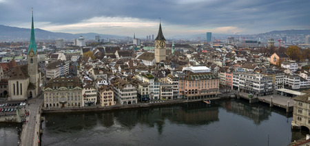 Panoramic photo of the city of Zurich (Switzerland), bird