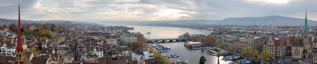 Panoramic picture of Zurich and Lake Zurich (Switzerland), with a bird