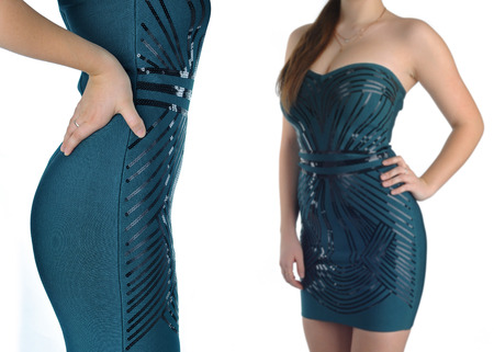 Item of womens clothing, green dress from two perspectives
