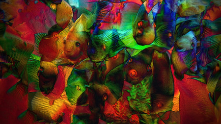 Multicolor background with a fishes, simulates textured surface Stock Photo