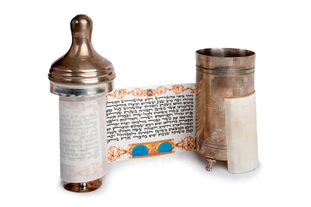 Torah scroll with case isolated on white background
