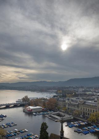 View of the Lake Zurich and Zurich (Switzerland), with a birds-eye view, autumn