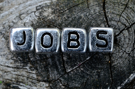 jobs: cube word jobs on wooden table