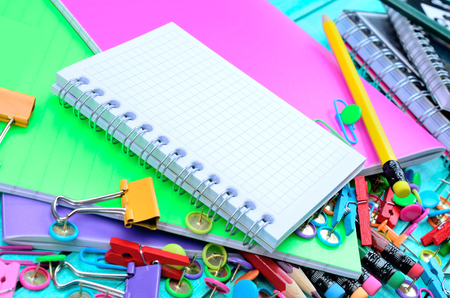 notepaper: empty notebook on stuff for school