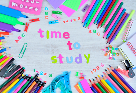 word letter time to study with object for school on gray wooden table Stock Photo