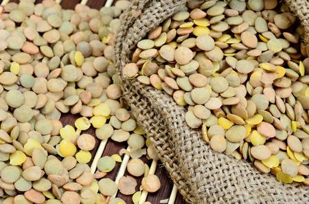 green lentil: green lentil on wooden table