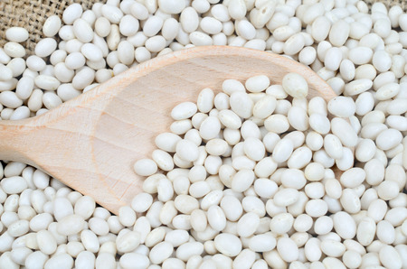 whit: whit ebeans and wooden spoon Stock Photo