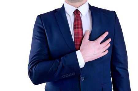 heartsick: business man heart attack on white background