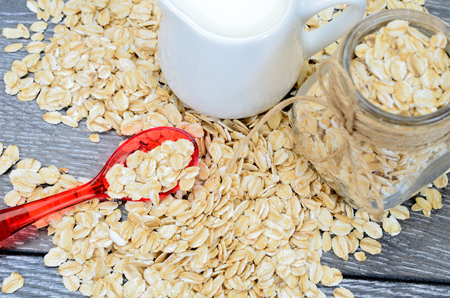 oat cereal on gray wooden table