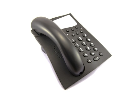 handset: Black phone with a place for the inscription on a white background