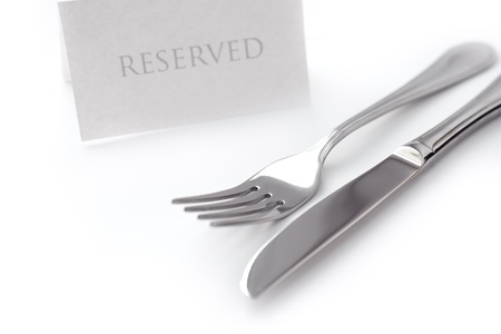 reserved sign: Generic reserved sign with fork and knife on white background