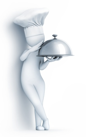 cloche: Chef with a cloche, on white background, 3d render Stock Photo