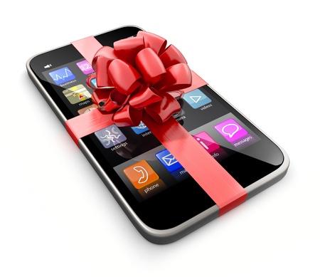 Smartphone gift, geïsoleerd op een witte achtergrond