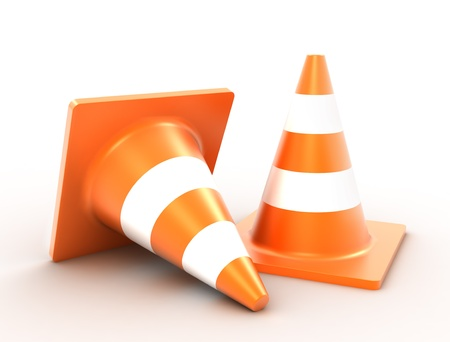 road block: traffic cones