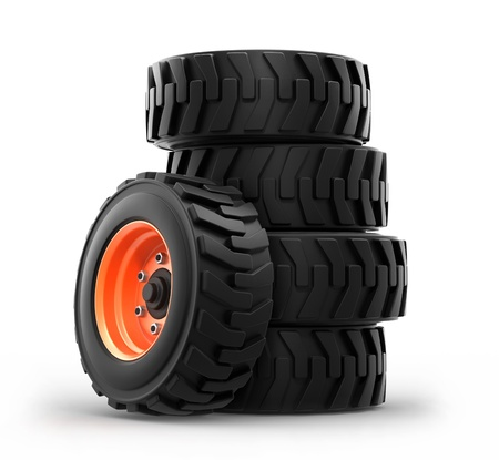 skid loader: Truck wheels isolated on white background  3d Stock Photo