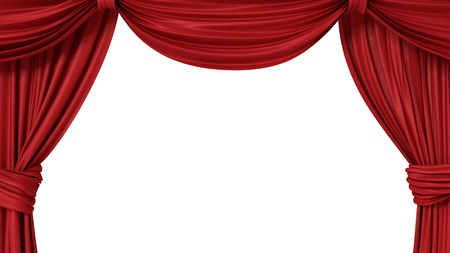 opened red theatrical curtain