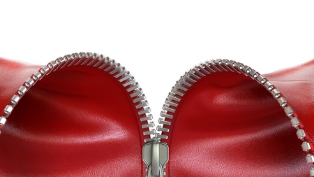 undressing: zipper with red leather, 3d illustration Stock Photo
