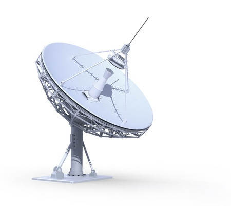 radioteleskop isolerade på vit bakgrund, 3d