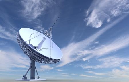 radiotelescoop op hemelachtergrond Stockfoto