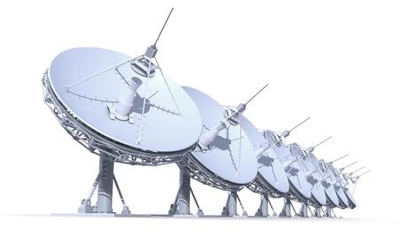 radiotelescopen op een witte achtergrond, 3D render