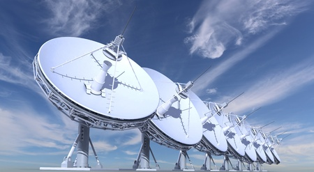 telecommunication equipment: radio telescopes on sky background Stock Photo