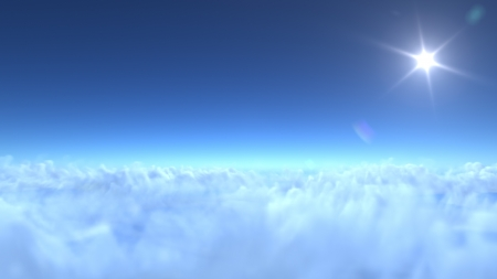 over clouds, 3d render photo