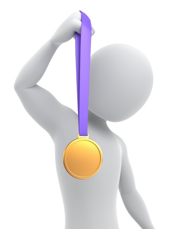 Gold medalist, 3d image with a clipping path Stock Photo