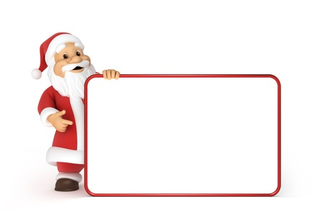 Santa claus with a blank billboard photo