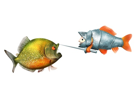 goldfish knight and piranha, duel concept photo