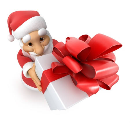 new path: Santa Claus with a gift, top view fish-eye,