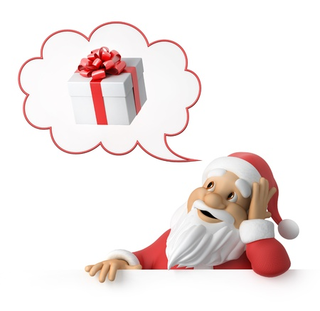 happy new year cartoon: Santa Claus is dreaming about presents Stock Photo