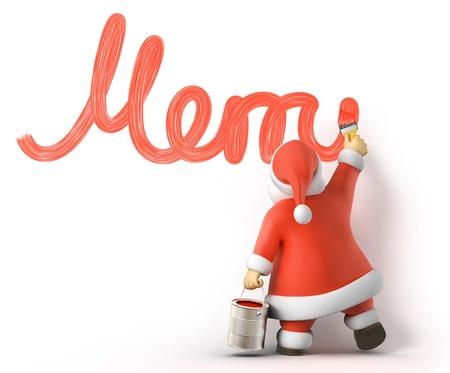 Kerstman schrijft Merry Christmas, 3d beeld met het werk