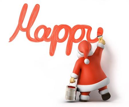 weihnachtsmann: Weihnachtsmann schreibt Happy New Year, 3D-Bild mit der Arbeit