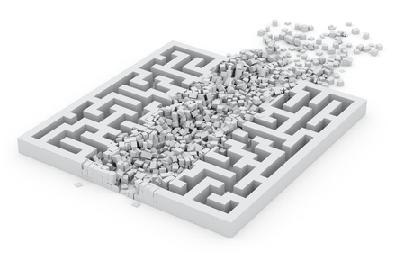 new way: through the labyrinth, concept of new way Stock Photo