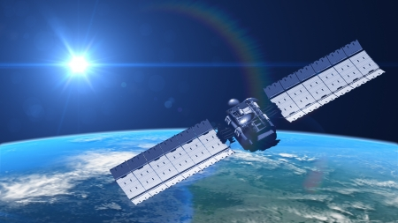 satelliet in een baan, 3d illustratie Stockfoto