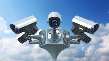 surveillance cameras on sky background, 3d render