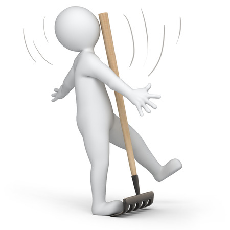 rake: 3d human accidentally  step on the rake