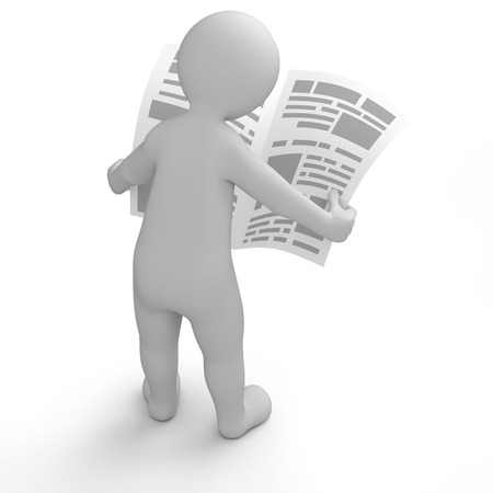 3d human reading newspaper